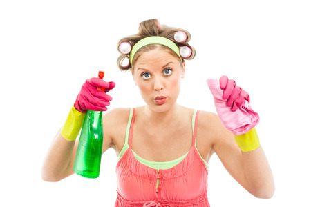 scrubbing up: Funny housewife cleaning glass or window  Stock Photo