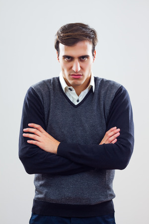 man scolding: Young businessman is furious because of something  Stock Photo