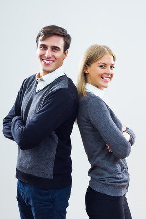 Portrait of businesswoman and businessman  photo