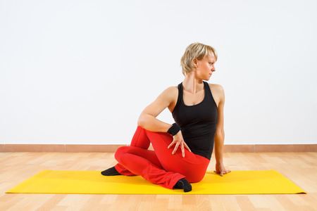 Ardha Matsyendrasana Sitting left twist photo