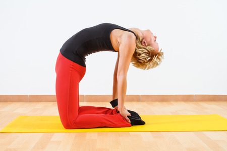 Ustrasana advanced Camel pose, palms set against feet photo