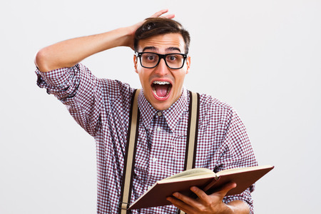old man on a physical pressure: Nerdy man is in panic because he doesnt have too much time for learning.