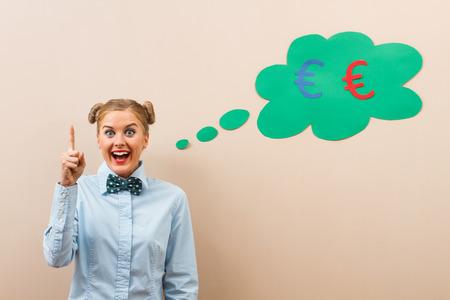 earn money: Cute geek girl has got idea how to earn money.