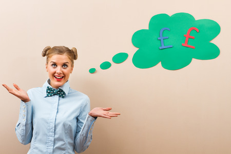 earn money: Cute geek girl knows how to earn and save money.