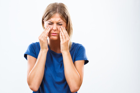 allergy: Woman is having pain in sinus.