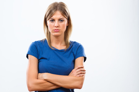 woman looking: Portrait of beautiful sad woman. Stock Photo