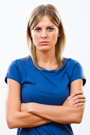 emotional woman: Portrait of beautiful sad woman. Stock Photo