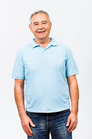 closeup portrait: Portrait of happy senior man. Stock Photo