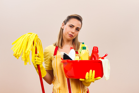 spring cleaning: Housewife is angry because she has to clean again.