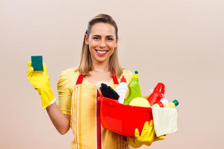 mujer ama de casa: Listo para la limpieza