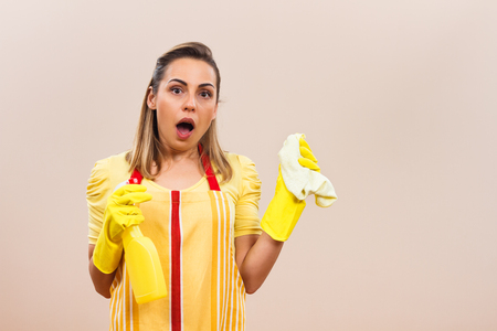 domestic staff: Housewife in panic Stock Photo