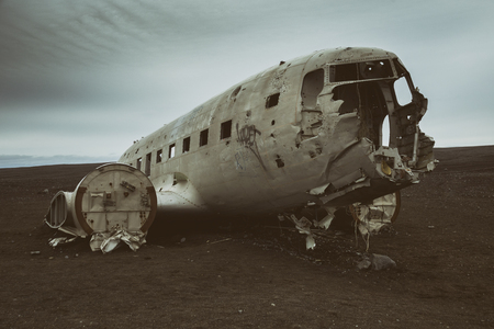 Crashed airplane DC-3 at Iceland.Image contains little noise because of high ISO set on camera.