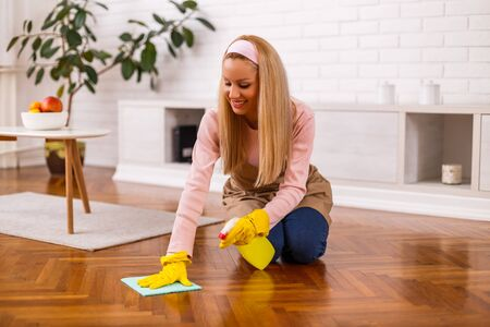 Beautiful housewife enjoys cleaning her home.
