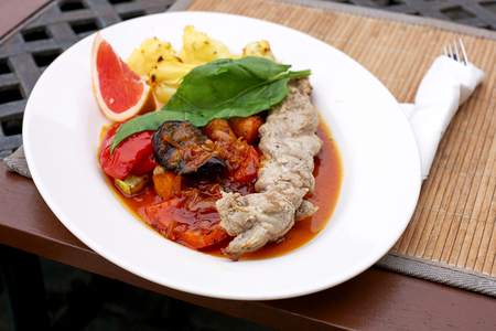 Lunch Dish with Grilled Vegetables and Meat Stock Photo