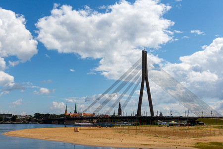 Riga, Latvia - July 19, 2017: Cable-stayed bridge in Riga in summer sunny day