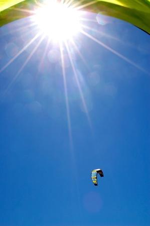 kitesurf: sky whit sun and kitesurf Stock Photo
