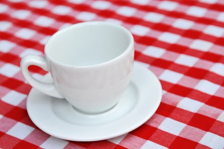 white ceramic cup and white and red checkered tavlecloth photo
