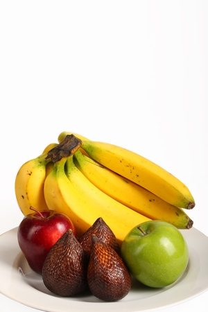 yeloow: pictures of fruits with red apple,green apple,yeloow banana, Salacca zalacca Stock Photo