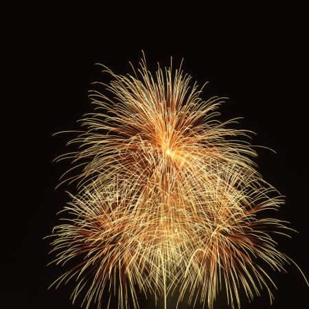 Yellow fireworks over back sky