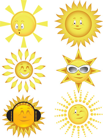 Collection of the sun. Vector illustration Vector