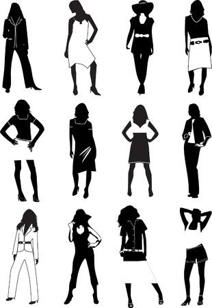 white pants: Fashion women. Vector illustration