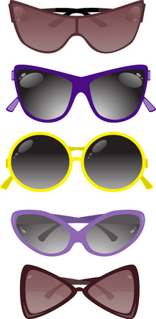 glamur: Collection of solar glasses. Vector illustration