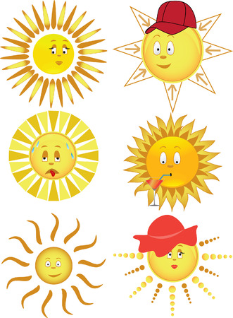 sweating: Collection of the sun. Vector illustration Illustration