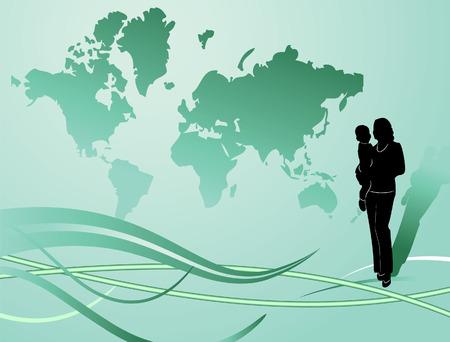 Green globe. Vector illustration Stock Vector - 3806261