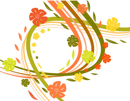 intricacy: Abstract background with waves and florets. Vector illustration