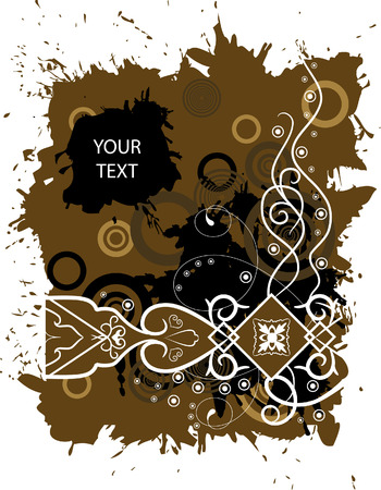 Grunge banner with a pattern and blots in brown colour Vector
