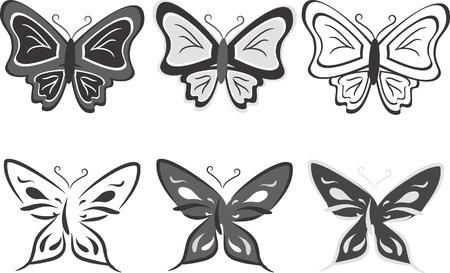 Collection of butterflies in black-and-white tones. Vector illustration Vector