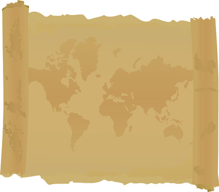 furl: Scroll with  map of world. Vector illustration