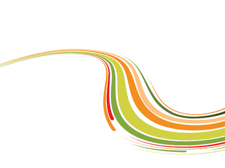 Abstract background with the green and orange bent lines. Vector illustration