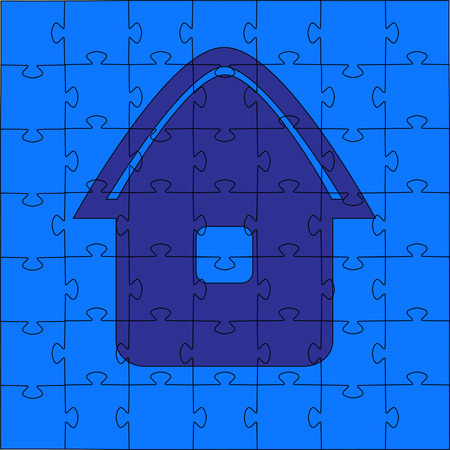 Puzzles - the house. Vector illustration Vector