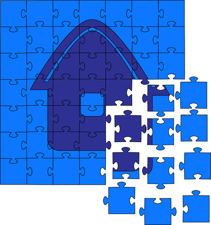 conclude: Not collected puzzles. Vector illustration