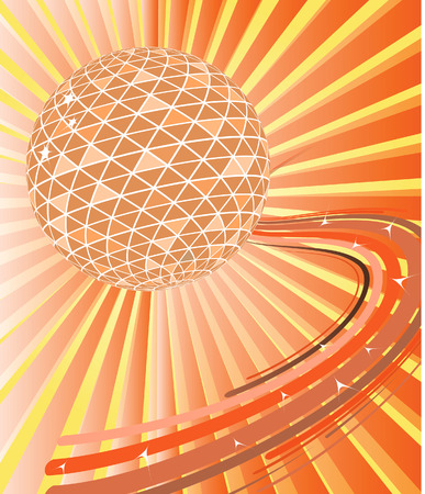 Disco ball with waves. Vector illustration Vector