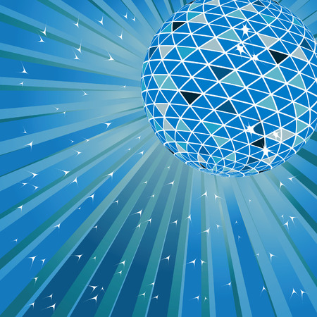 Blue disco ball. Vector illustration Vector