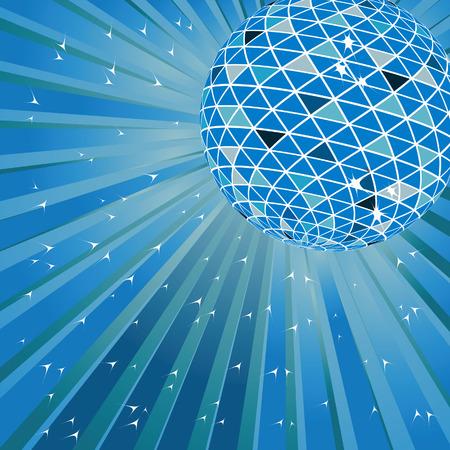 flashy: Blue disco ball. Vector illustration