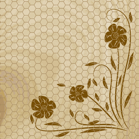 Wooden texture with flower. Vector illustration Vector