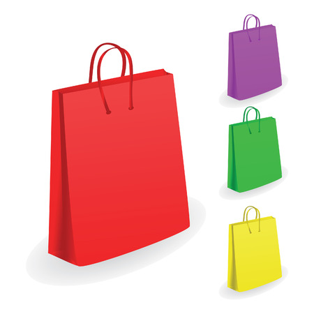 red packet: Collection of shopping bags. Vector illustration