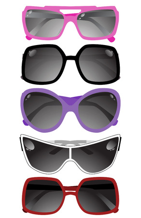 Collection of solar glasses. Vector illustration