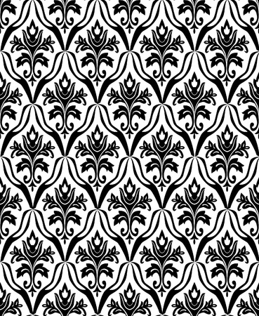 Black and white seamless pattern. Vector illustration
