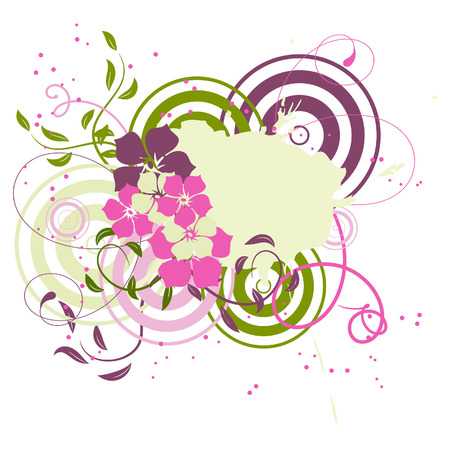 Pink banner with flowers. Vector illustration Vector