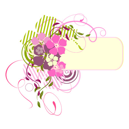 pink banner: Pink banner with flowers. Vector illustration