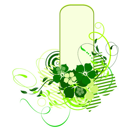 Green banner with flowers. Vector illustration Vector
