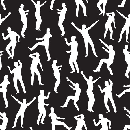 Seamless  the image of dancing young men. Vector illustration Vector