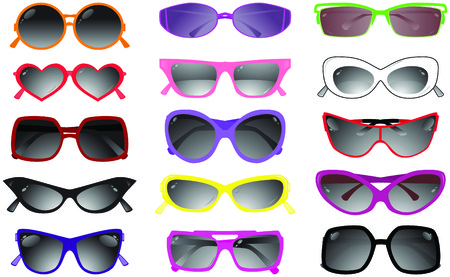 안경: Collection of solar glasses. Vector illustration