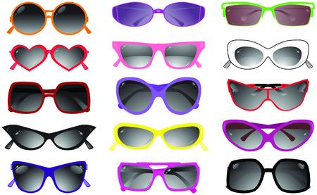 glas kunst: Verzameling van zonne bril. Vector illustratie