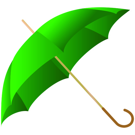 represented: The green umbrella represented on a white background Illustration