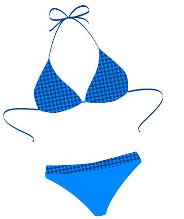 ni�as en bikini: El traje de ba�o aislado en un fondo blanco. Vector illustration